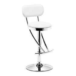 ZUO MODERN - Proof Barstool White - The Proof Barstool is a modern classic with its elegnat swooping shape.  It has a leatherette seat and back with a chrome height adjustable swivel base.