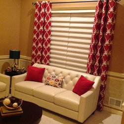 Stunning Drapery - Grommet panels in Windsor Embroidery, Rouge.  Wrought Iron Hardware in Pewter