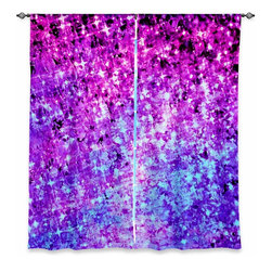 "DiaNoche Designs - Window Curtains Lined by Julia Di Sano Radiant Orchid Galaxy - Purchasing window curtains just got easier and better! Create a designer look to any of your living spaces with our decorative and unique ""Lined Window Curtains."" Perfect for the living room, dining room or bedroom, these artistic curtains are an easy and inexpensive way to add color and style when decorating your home.  This is a woven poly material that filters outside light and creates a privacy barrier.  Each package includes two easy-to-hang, 3 inch diameter pole-pocket curtain panels.  The width listed is the total measurement of the two panels.  Curtain rod sold separately. Easy care, machine wash cold, tumble dry low, iron low if needed.  Printed in the USA."