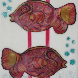 Two Fish (Original) by Maggie Von Moos - Another  painting inspired by nature.  I love to fly fish and we have great fishing here in the Pacific Northwest.  I thought it would be fun to create something a little whimsical with fish.