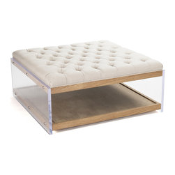 Kathy Kuo Home - Square Linen Hollywood Regency Wood Acrylic Cocktail Ottoman - Casual comfort meets Hollywood glamour in this unique cocktail table - meets-ottoman. The useful options abound - kick back and rest your feet on its tufted natural linen top, while storing your novels and magazines beneath, or perch a Lucite tray stacked with beverages and snacks atop its solid cushion.  Whatever you choose, this piece will look great doing it all.
