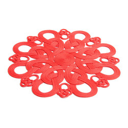 Daisy Hill - Chinese Passamenterie Red Placemat - Building a stunning tablescape begins with the right linens and placemats. These intricately woven placemats are the ideal starting point for an eyecatching table.