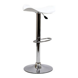 "LexMod - Energia Bar Stool in White - Energia Bar Stool in White - Ride new vistas and conquer all obstacles with this adventure packed bar stool. Gird yourself as an underlying force of light-filled prowess bursts from this pedestal of strength. Celebrate special moments and enliven casual repartee with the Energia vinyl wave seat and polished chrome base. Set Includes: One - Energia Bar Stool Popular in restaurants and homes, Fits most bars and countertops, Unique padded vinyl wave seat, Height adjustable hydraulic lift, Polished chrome-finished base, Tubular footrest for support, Easy wipe clean surface Overall Product Dimensions: 17.5""L x 17""W x 25 - 33""H Seat Height: 22 - 30""H Armrest Height: 24.5 - 32.5""H - Mid Century Modern Furniture."