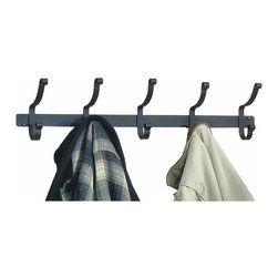 Renovators Supply - Coat Racks Black Wrought Iron Coat Rack 8 H x 32 1/2 W '' - Wrought Iron Coat Rack. These coat racks features double sided hooks. This 5-hook rack is 32 1/2 in. wide x 8 in. high x 4 in. projection.