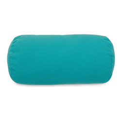 Majestic Home Goods - Teal Round Bolster Pillow - Add a splash of color and a little texture to any environment with these great indoor/outdoor plush pillows by Majestic Home Goods. The Majestic Home Goods Teal Round Bolster Pillow will add additional comfort to your living room sofa or your outdoor patio. Whether you are using them as decor throw pillows or simply for support, Majestic Home Goods Round Bolster Pillows are the perfect addition to your home. These throw pillows are woven from Outdoor Treated polyester with up to 1000 hours of U.V. protection, and filled with Super Loft recycled Polyester Fiber Fill for a comfortable but durable look. Spot clean only.