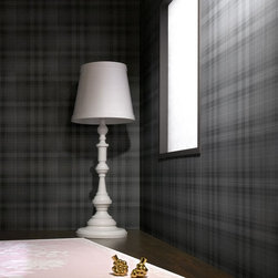 Graham & Brown - Audrey Wallpaper - Audrey is a subtle tartan wallpaper. The design itself harks back to a long lineage of classic designs (although the tartan itself is an original, by the celebrated Marcel Wanders) and the smoky grey tones add a touch of modern sophistication. It's more than you might expect from an ordinary check wallpaper. The colouring is also very practical and will hide smudges. As such it's ideal for workspaces