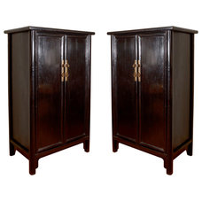 A Pair of Black Lacquered Sloping-Stile Wood-Pin Hinged Cabinets