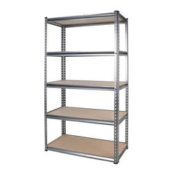 Tactix - 5 Shelf HD Steel Shelving Unit - 36 x 18 x 72 Multicolor - 329020 - Shop for Shelving from Hayneedle.com! Keep your most important tools and supplies off the floor and neatly organized on the 5 Shelf HD Steel Shelving Unit - 36 x 18 x 72. This versatile shelving unit features an easy to assemble steel frame that requires no bolts whatsoever and MDF shelves capable of holding 700 lbs. each. You can use these pieces to assemble either a workbench or shelf in full height or split to double the width. Measures 36W x 18D x 72H inches. About TactixThe Tactix name is brought to you by Meridian International. Since 1992 Meridian International has been a leading company in the tool and hardware market even going so far as becoming the headquarters for an effective group of manufacturers serving global customers! Their synchronized approach touches every part of the manufacturing process from research to product development and even graphic design with one mission in mind: provide unparalleled service support and partnership to all customers through innovation dedication and a commitment to excellence!