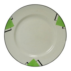 Lavish Shoestring - Consigned 6 Art Deco Small Plates in Black and Green, Vintage English, 1930s - This is a vintage one-of-a-kind item.