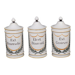 Set of three Antique French Ceramic Apothecary Jars - The HighBoy, Alhambra Antiques