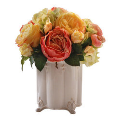 "Jane Seymour Botanicals - Mixed Rose Canister - Pop some color into your decor with a marvelous mix of roses in a vintage style ceramic vase. No one need know your secret — that these remarkably realistic ""forever flowers"" will never lose a single petal."