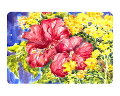 Caroline's Treasures - Flower - Hibiscus Kitchen Or Bath Mat 20X30 - Kitchen or Bath COMFORT FLOOR MAT This mat is 20 inch by 30 inch.  Comfort Mat / Carpet / Rug that is Made and Printed in the USA. A foam cushion is attached to the bottom of the mat for comfort when standing. The mat has been permenantly dyed for moderate traffic. Durable and fade resistant. The back of the mat is rubber backed to keep the mat from slipping on a smooth floor. Use pressure and water from garden hose or power washer to clean the mat.  Vacuuming only with the hard wood floor setting, as to not pull up the knap of the felt.   Avoid soap or cleaner that produces suds when cleaning.  It will be difficult to get the suds out of the mat.