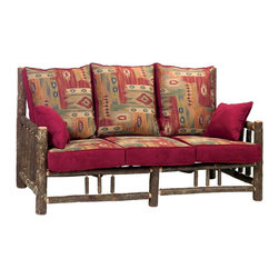 Fireside Lodge Furniture - Hickory Log Sofa w Cushions (Great Outdoors M - Fabric: Great Outdoors MeadowHickory Collection. Includes 3 seat cushions and a pair of 18 in. square welted fabric pillows. Cushion is a high-density foam with Dacron wrap for lasting comfort. Back cushion is an over-stuffed poly foam pillow. Full log back. Clear-coat catalyzed lacquer finish for extra durability. All Hickory Logs are bark on and kiln dried to a specific moisture content. Spring mechanism for added comfort. Individually hand crafted. 2-Year limited warranty. 77 in. W x 37 in. D x 41 in. H (210 lbs.)