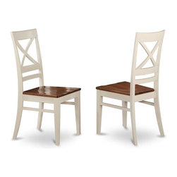 East West Furniture - Dining Chair With X-Back - Set of 2 - Set of 2. High back chair with wooden seat. Made from wood. Buttermilk and cherry finish. Made in Vietnam. Assembly required. Seat height: 18 in. H. Overall: 17.5 in. W x 17.5 in. D x 38.5 in. H (40 lbs.)