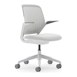 Steelcase - Steelcase Cobi Chair, White Frame w/Arms & Standard Casters, Coconut - No working stiff here, this chair has all the ergonomic amenities of the classic chair with the addition of arms, so you can move easily and lean comfortably into whatever task is coming down the pike.