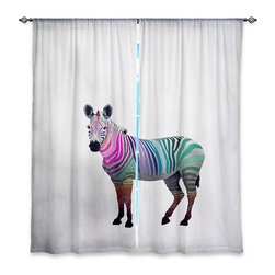 "DiaNoche Designs - Window Curtains Unlined - Monika Strigel Rainbow Zebra White - Purchasing window curtains just got easier and better! Create a designer look to any of your living spaces with our decorative and unique ""Unlined Window Curtains."" Perfect for the living room, dining room or bedroom, these artistic curtains are an easy and inexpensive way to add color and style when decorating your home.  This is a tight woven poly material that filters outside light and creates a privacy barrier.  Each package includes two easy-to-hang, 3 inch diameter pole-pocket curtain panels.  The width listed is the total measurement of the two panels.  Curtain rod sold separately. Easy care, machine wash cold, tumbles dry low, iron low if needed.  Made in USA and Imported."