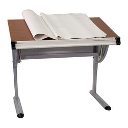 Flash Furniture - Adjustable Drawing and Drafting Table - Melamine laminate top. Locking angle adjustable work surface. Raised metric ruler along bottom edge. Curved tray holds building plans, art work or supplies. Lower supply tray for clean surface. Height adjustable frame. Pewter frame finish. Supplier warranty: Our products have a 2 year warranty for parts. This warrants against defects in manufacturing. If the products are used excessively (more than 8 hours/day), and have excessive weight (over 225 lbs.) applied, the warranty is void. New parts will be sent out, or the item will be replaced at our discretion.. Made from steel. Maple laminate finish. Minimal assembly required. 45.25 in. W x 28.25 in. D x 34.25 - 47.75 in. H (61 lbs.)