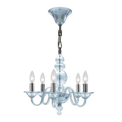 Crystorama - Crystorama Harper 1 Tier Chandelier in Polished Chrome - Shown in picture: Chandelier with Ice Blue glass body and Polished Chrome metal details; The Harper Collection from Crystorama has a very traditional design flare but pared with the new ICE BLUE glass body helps to create a sense of contemporary edge. The glossy ICE BLUE glass is hard edge enough for contemporary settings but soft and elegant enough to match any decor. For a more modern flare - use the Chrome metal candle sleeves. For a more traditional decor - use the white candle sleeves. Both the chrome and white ship with each fixture.