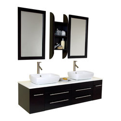 Fresca - Fresca Bellezza Modern Double Vessel Sink Bathroom Vanity, Espresso - Not to brag, but this is our most popular piece being sold. Marble, real wood and ceramic make up this stunning piece bought for city condos and 1+million residences. Double sinks make this perfect for a master bedroom, his and hers with equal amount of drawer space. A convenient medicine cabinet hangs in the same color as the sink and counter top. Very clean lines, no fuss, no extra frills make it easy for the homeowner to then spice up the rest of the bathroom as much or little. Very Midtown Manhattan. This design is an easy classic.