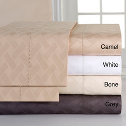 None - Celeste Home 410 Thread Count Pima Cotton Jacquard Sheet Set - Available in a wide variety of neutral hues,these sateen pima cotton sheets are a luxurious addition to any bedding ensemble. Featuring an over-sized flat sheet and a fitted sheet with a deep pocket,these sheets are ideal for today's large mattresses.