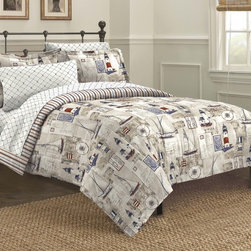 None - Cape Cod 7-piece Bed in a Bag with Sheet Set - The comforter set features a nautical theme of sailboats and lighthouses and reverses to a multicolored stripe pattern.