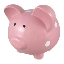 Cute Pink / White Polka Dot Ceramic Piggy Bank Coin - This adorable pink and white polka dot ceramic money bank really brightens up a room. The bank has large ears, short legs, and a body that will carry a whole lot of change. The pig measures 8 1/2 inches tall, 7 1/2 inches wide and 9 1/2 inches long. The bank empties via a pull-off plastic piece on the bottom. He makes a great gift for pig lovers or anyone wanting to encourage a savings habit.