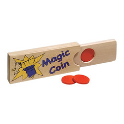 "The Original Toy Company - The Original Toy Company Magic Coin Box - Makes coin disappear and reappear. 6"" x 4"" x 1"" wooden, comes with wood coin. Age: 3 years and up. Warning: May Contain Small Parts."