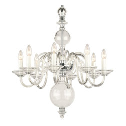 "Inviting Home - Egmont Crystal Chandelier - Egmont clear crystal glass chandelier; 24"" x 30""H (8 lights); assembly required; 8 light chandelier made of hand-blown smooth crystal glass; all metal parts are chromium plated; Preciosa genuine Czech crystal. The chandelier featuring glass spheres placed in the central rod has been produced since 17th century. In the 20th century the original metal was replaced with both clear or colored glass; * ready to ship in 2 to 3 weeks; * assembly required; The design of all crystal glass chandeliers are based on the combination of classical shapes and modern decorations. Plane shapes in clear crystal or other colors mingle with decorative elements such us straight cuts optic or spun crystal glass. As fixed stars among lighting fixtures these types of chandeliers become timeless sources of illumination suitable for various interiors. These chandeliers are manufactured using oxygen fuel technology. Only few manufacturers in Europe that use oxygen fuel technology. This allows for better control and manage the preparation process of glass. The result is impeccably pure glass of highest quality with minimal amount of visual irregularities. Every component passes thorough strict internal Quality Control processes. Highest quality European production with certified standards. UL approved - dry location; hardwire; 8x E12/14 - 40W bulbs; bulbs not included. 3 to 4 feet chain drop provided. Hand crafted in Czech Republic."