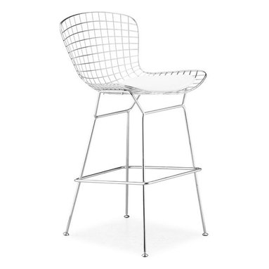 Advanced Interior Designs - Bertoia Wire Barstool, Chrome Finish with White Seat Pad - This classic mid-20th century modern chair is a brilliant design. Our Bertoia barstool is a high quality reproduction of the original design by Harry Bertoia. Our barstool is exceptionally strong and surprisingly comfortable with its unique bent and welded steel rod construction.