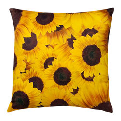 Sunflowers 16X16 Decorative Pillow (Indoor/Outdoor) - 100% polyester cover and fill.  Suitable for use indoors or out.  Made in USA.  Spot Clean only