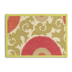 Coral & Green Giant Suzani Tailored Placemat Set - Class up your table's act with a set of Tailored Placemats finished with a contemporary contrast border. So pretty you'll want to leave them out well beyond dinner time! We love it in this oversized suzani of sunbursts & flames swirling in bright coral, spring green & beige on heavy basketweave cotton.  a statement for spaces modern, boho, & eclectic alike.