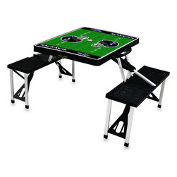 """Picnic Time - Baltimore Ravens Picnic Table Sport in Black - Picnic Time's portable Picnic Table is a compact fold-out table with bench seats for four that you can take anywhere. The legs and seats fold into the table when collapsed so the item is easy to store and transport. It has a maximum weight capacity of 250 lbs. per seat and 20 lbs. for the table. The seats are molded polypropylene with a basket weave pattern in the same color as the ABS plastic table top. The frame is aluminum alloy for durability. The Picnic Table is ideal for outdoor or indoor use, whenever you need an extra table and seats. It includes a hole in the center of the table to accommodate a standard sized beach umbrella (having a pole that is 1.25"""" diameter or less). Pair it up with Picnic Time's multi-colored stripe Umbrella (812-00-996) or solid colored Umbrella 5.5 (822-00) in red, green, blue or black, sold separately.; Decoration: Digital Print"""