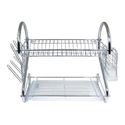 Better Chef - Better Chef 16-inch Chrome Dish Rack with Utensil Holder, Cup Rack and Tray - Our Two-Tiered Dish Rack System features sturdy construction and space saving design Chrome plated steel and heavy duty plastic. Use the top tier for dishes, bottom tier for saucers, cups, bowls etc, side rack for glasses and flatware.