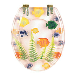 Renovators Supply - Toilet Seats Brass PVD Polymer Toilet Seat Sea Fish | 16964 - Sea Fish Toilet Seats: Made of High Grade Polymer this seat is designed for maximum strength and durability and does NOT yellow over time like most polymers. Cast within the seat the stabilizing bumpers prevent rocking and keep the seat safely in place. Oval, brass PVD hinges are tarnish resistant and fit standard hole spacing 5 1/2 inch on center and are adjustable but not recommended for adjusting on standard US toilets. May not be compatible with other brand name toilets. Seat measures: 16 7/8 inch x 14 1/2 inch Lid measures: 16 1/8 inch x 13 3/8 inch