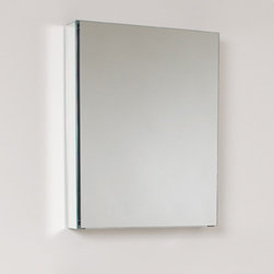 """Fresca - Small Bathroom Medicine Cabinet w Mirrors - Recessed Mounting Option. Product Material: Glass. Finish: Mirror. 2 Glass Shelves. Mirrored Door. 19.5 in. W x 26 in. H x 5 in. DThis 20"""" medicine cabinet features mirrors everywhere. The edges have mirrors and also on the interior of the medicine cabinet. The inside features two tempered glass shelves. Can be wall mounted or recessed into the wall."""