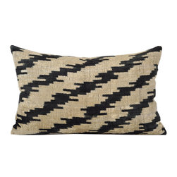 Metrohouse Designs - Hand loomed silk velvet Ikat pillow - Flame Silk Velvet Accent Pillow