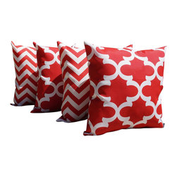 Land of Pillows - Fynn Rojo Moroccan Quartrefoil Zig Zag Chevron Red Outdoor Set of 4 Pillows, 20x - Fabric Designer - Premier Prints