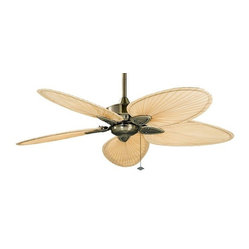 Fanimation Windpointe Ceiling Fan in Antique Brass with Palm Blades