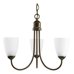 """Progress Lighting - Progress Lighting P4440-20Ebwb Gather Three-Light Antique Bronze Chandelier With - Energy Star three-light chandelier from Gather possesses a smart simplicity to complement today's home. Antique Bronze metal arms descend downwards and curve sharply to prop white etched glass shades. Etched glass add distinction and provide pleasing illumination to your room. Coordinating fixtures from this collection let you decorate an entire home with confidence and style. 42"""" of 9 gauge chain is supplied for ceiling chain mount."""