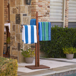 Upton Home - Upton Home Raylen Eucalyptus Natural Oil Finish Towel Rack - This beautifully crafted natural wood towel rack is the perfectly stylish addition to any bathroom or pool. The durable rack is fully wooden and is able to hold many wet or heavy towels while adding a sleek addition to bathroom or backyard decor.