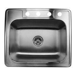 """Nantucket Sinks - Nantucket Sink ns2522 - 25"""" small Rectangle Single Bowl self rimming Stainless S - Self Rimming drop in small rectangle kitchen sink. It has four accessory holes that will accommodate an 8"""" spread faucet."""