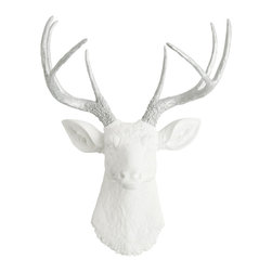 White Faux Taxidermy - The Frankfurt White Faux Resin Deer Head with Silver Antlers - Each piece is cast out of a polyresin material, thus making the deer sculpture fairly light in weight.
