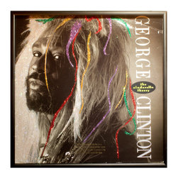 """Glittered George Clinton Cinderella story Slbum - Glittered record album. Album is framed in a black 12x12"""" square frame with front and back cover and clips holding the record in place on the back. Album covers are original vintage covers."""