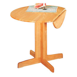 Coaster - Coaster Damen Round Wood Pedestal Dining Table with Leaf in Warm Natural Finish - Coaster - Dining Tables - 4137 -