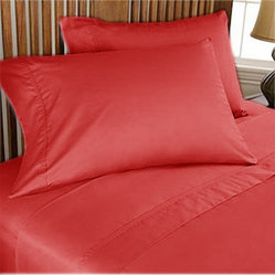 1000TC Egyptian Cotton Sheet Set 4pc Red - FREE USA SHIPPING