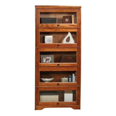 Eagle Furniture Manufacturers - Oak Ridge 5 Glass Door Lawyers Bookcase (Dark Oak) - Finish: Dark Oak. Five glass panel doors. Five fixed wood shelves. Constructed of American Oak Wood. Solid plywood back panel. Designed with decorative molding and fluted detailing. Warranty: Eagle's products are guaranteed against material defects for one year from date of delivery to the dealer. Made in USA. No assembly required. Shelf: 31 in. W x 11.75 in. H. Overall: 32.5 in. W x 13.25 in. D x 73.75 in. H (103 lbs.)The Oak Ridge collection combines American oak hardwood with updated contemporary styling. Heavy crown molding, sleek lines, fluted side molding, black brushed metal hardware, solid oak frames and solid oak recessed doors give this transitional collection a style all its own.