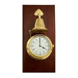Bey-Berk Brass Striking Clock with Bell on Mahogany - Tarnish Proof - The Bey-Berk Brass Striking Clock with Bell on Mahogany T.P. chimes the time in a manner familiar to coastal residents around the world. This functional timepiece has an analog quartz-movement clock with a bell that counts the hour with a double strike. Features a solid brass tarnish-proof bezel upon a solid mahogany base. Includes a personalization plate. About Bey-Berk InternationalThis quality item is created by Bey-Berk. For more than 20 years Bey-Berk International has crafted and hand-selected unique gifts and accessories from around the world to meet the demands of discerning customers. With its line of elegant and distinctive products Bey-Berk has established itself as a leader in luxury accessories.