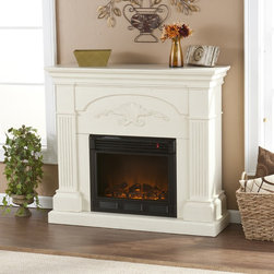 Upton Home - Upton Home Gilbert Ivory Electric Fireplace - Easily add charm,elegance,and warmth with this classically styled electric fireplace. It plugs into a normal electrical outlet and uses the same amount of energy as a normal coffee maker. You can adjust the thermostat and the flame brightness.