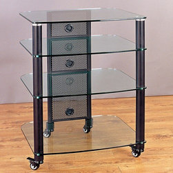 "VTI - NGR Series 25"" TV Stand - Features: -Beautifully tempered glass shelves.-Extra thick glass shelves 0.4'' (10 mm) for heavy load support.-Unit capacity 350 pounds.-Heavy-gauge metal poles offer simple but elegant look.-Wire management system accommodations.-Extra large shelf to accommodate the biggest and heaviest equipment.-Rolling caster for easy movement and lock in place when needed.-Sectional structure and additional shelf can be added later on.-TV Size Accommodated: 37"".-Powder Coated Finish: Yes.-Gloss Finish: No.-Material: Steel and glass.-Distressed: No.-Exterior Shelves: Yes.-Drawers: No.-Cabinets: No.-Scratch Resistant: Yes.-Removable Back Panel: Yes.-Hardware Finish: Black, silver.-Casters: Yes -Hidden Casters: No.-Locking Casters: Yes..-Fireplace Included: No.-Lighted: No.-Media Storage: No.-Cable Management: Yes.-Batteries Required: No.-Weight Capacity: 350 lbs.-Collection: NGR rack.-Eco-Friendly: Yes.-Recycled Content: No.-Non-Toxic: Yes.Dimensions: -Overall Height - Top to Bottom (Size: 3 Shelves): 34.5.-Overall Height - Top to Bottom (Size: 4 Shelves): 42"".-Overall Height - Top to Bottom (Size: 5 Shelves): 49.375"".-Overall Width - Side to Side (Size: 3 Shelves, 4 Shelves, 5 Shelves): 24.625"".-Overall Depth - Front to Back (Size: 3 Shelves, 4 Shelves, 5 Shelves): 21.75"".-Shelving: Yes.-Legs: -Leg Width - Side to Side: 2"".-Leg Depth - Front to Back: 2""..Assembly: -Assembly Required: Yes.-Additional Parts Required: No.Warranty: -Product Warranty: Lifetime."