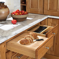 Heavy Duty Bread Board & Knife Drawer Insert - Removable maple bread board has rubber feet attached to the bottom for counter use.